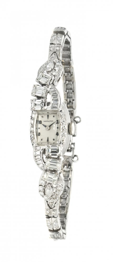 397: A Platinum and Diamond Mechanical Wristwatch, Hami
