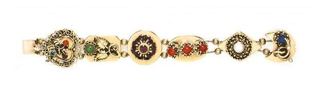 726 A 14 Karat Yellow Gold Slide Charm Bracelet 4010