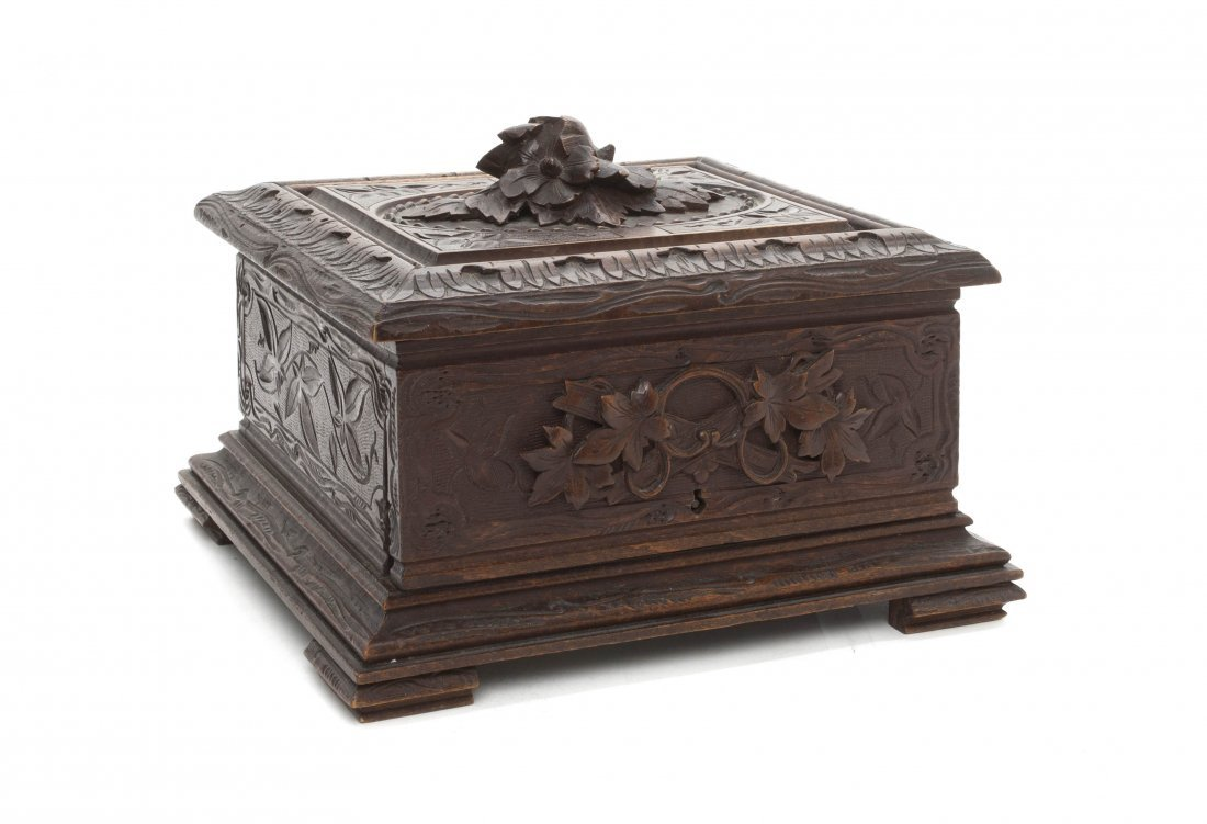 2: A Black Forest Carved Wood Humidor, Height 7 x width