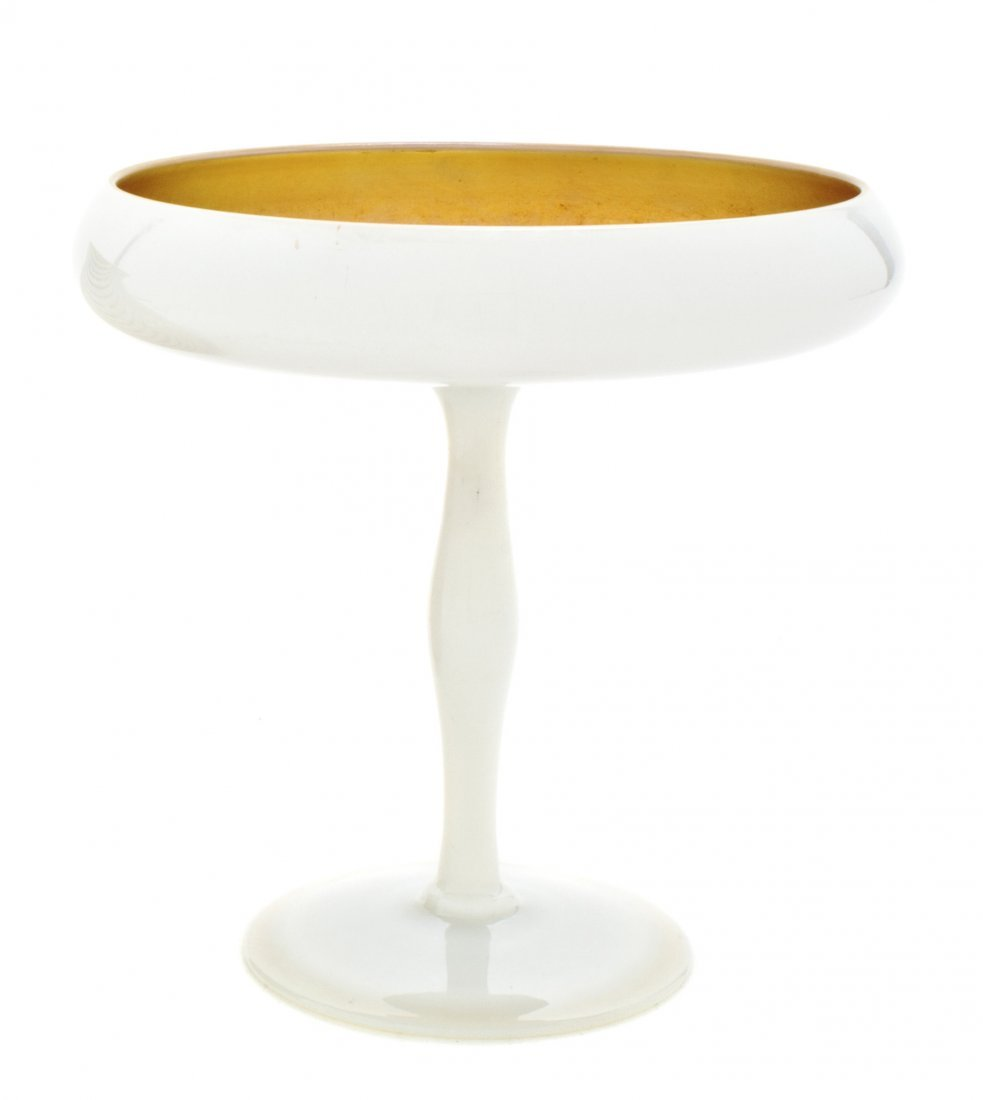 8: A Steuben Glass Calcite and Gold Aurene Compote, Dia