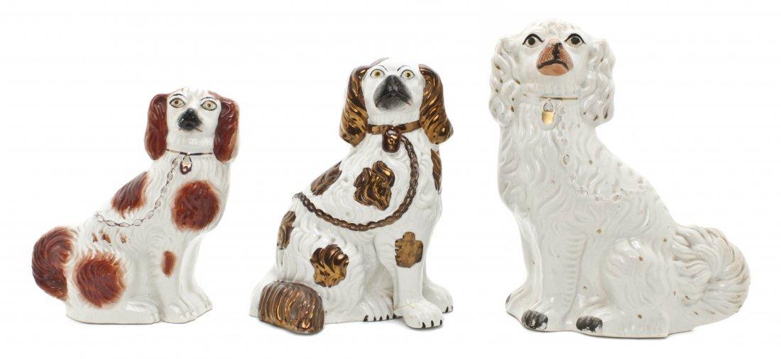 13: Three Staffordshire Ceramic Spaniels, Height of tal