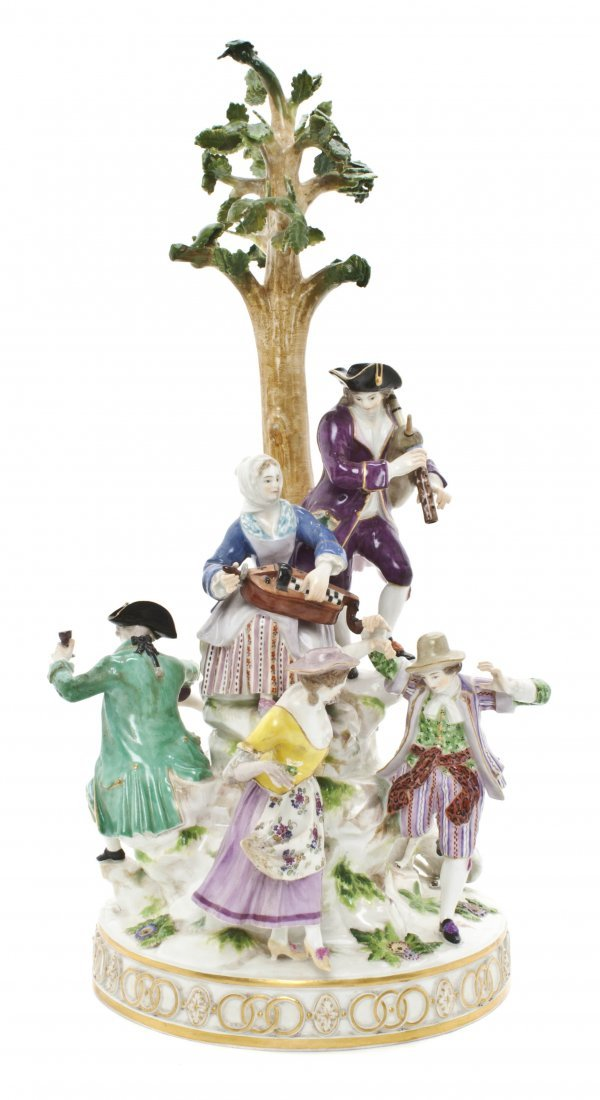 14: A Meissen Porcelain Figural Group, Height 19 1/2 in