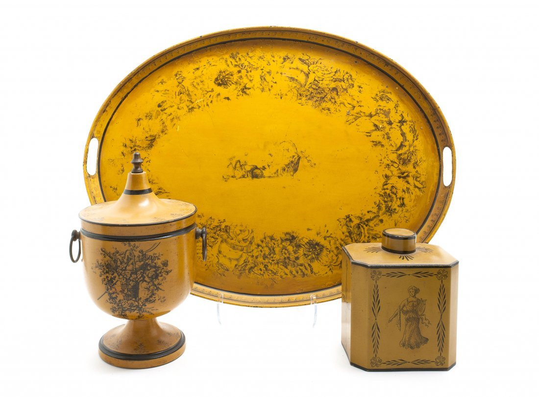 17: Three Yellow Tole Decorative Articles, Length of tr