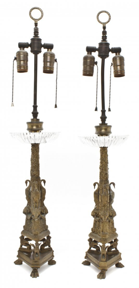 18: A Pair of Continental Gilt Metal Table Lamps, Heigh