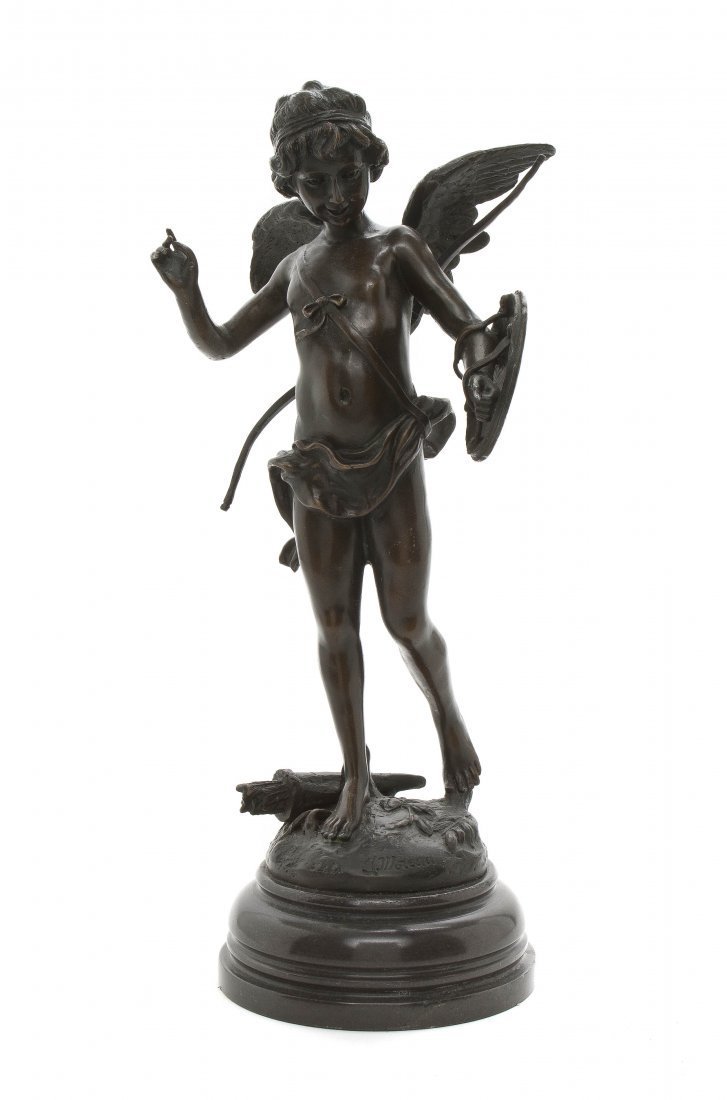 20: A Patinated Bronze Figure of a Cupid, after Auguste