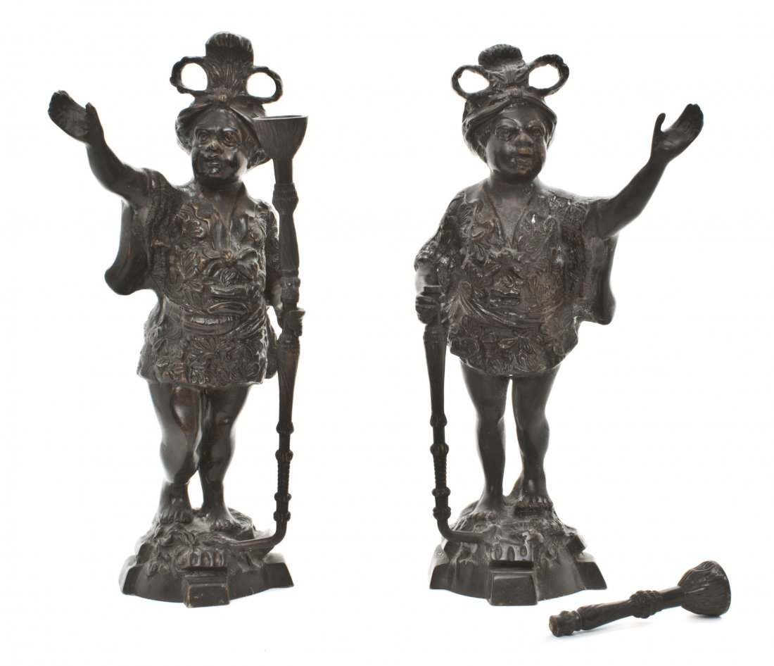 21: A Pair of Bronzed Metal Blackamoors, Height 15 1/4