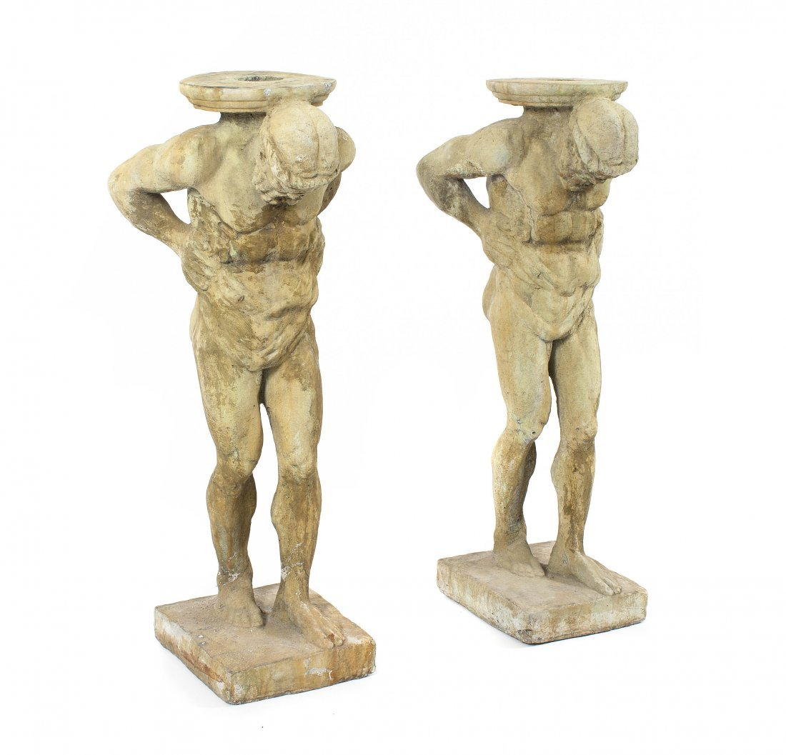 22: A Pair of Cast Concrete Pedestals, Height 38 inches