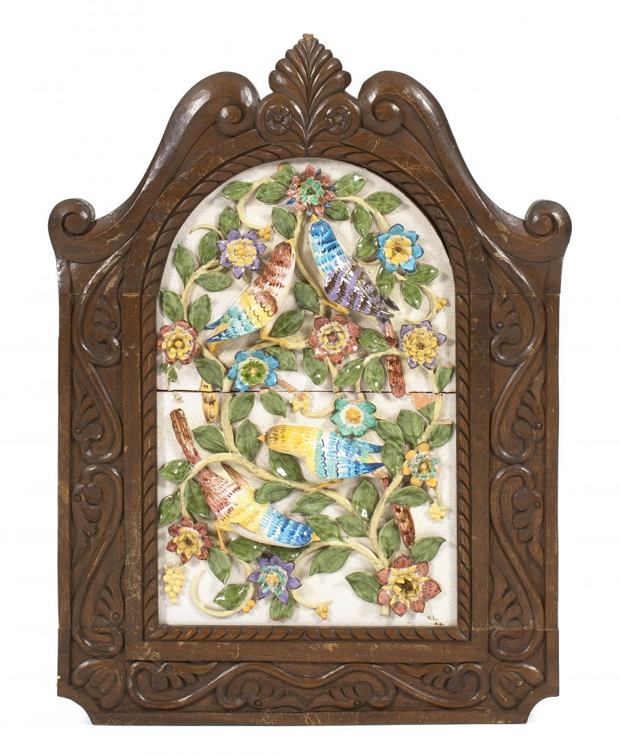 23: A Continental Majolica Plaque, Height 29 x width 17