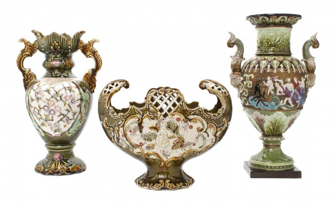 24: Two Majolica Porcelain Vases, Height of tallest 15
