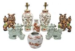 419: Two Pairs of Ceramic Fu Dogs, Height of tallest 16