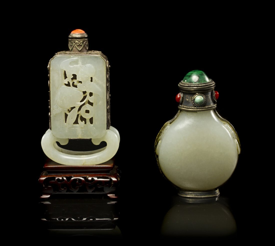 6: Two White Jade and Silver Mounted Snuff Bottles, Hei