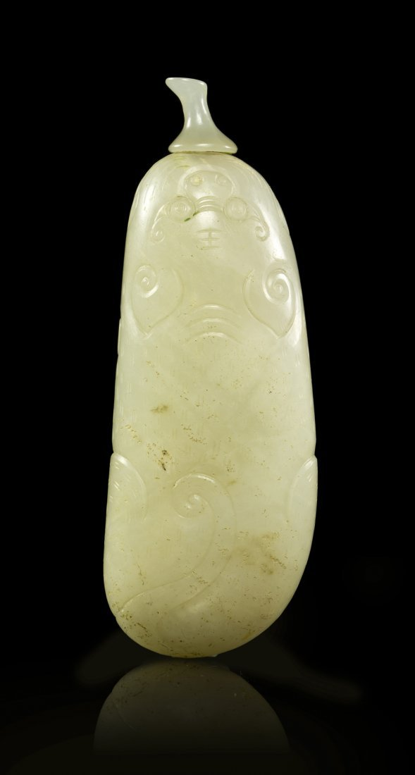 7: A White Jade Tiger Form Snuff Bottle, Height overall