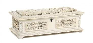 97: A Chinese Carved Ivory Table Casket, Width 10 5/8 i