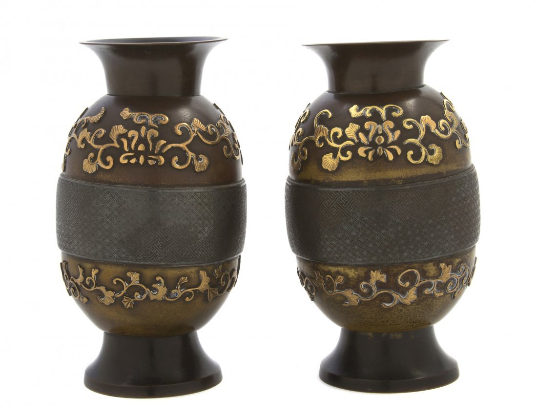 490: A Pair of Japanese Bronze and Mixed Metal Vases, H