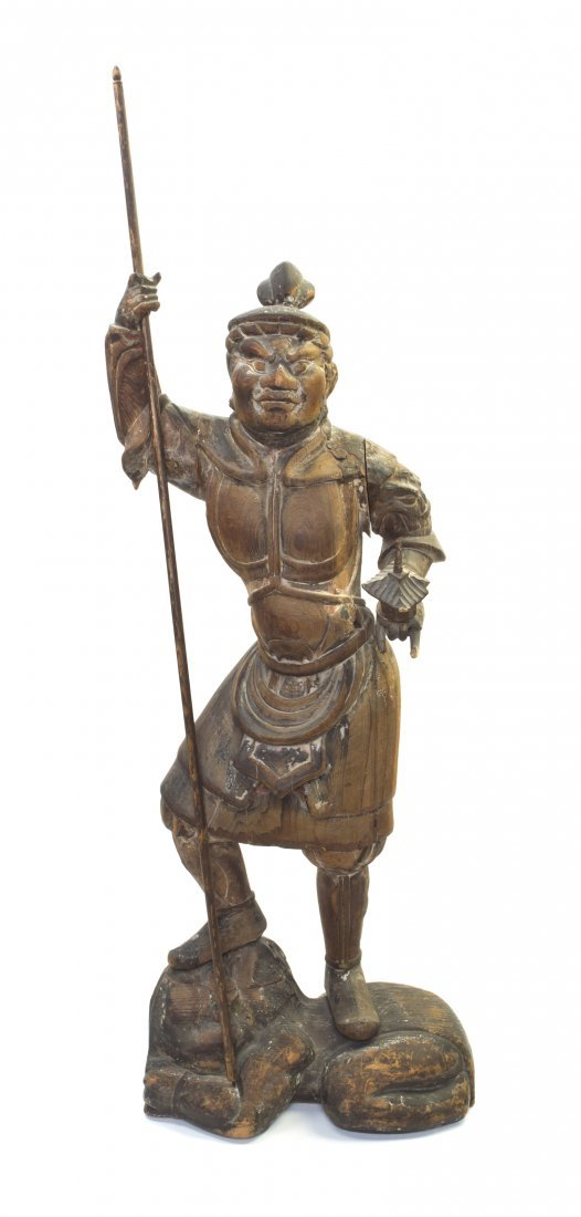 495: A Japanese Carved Wood Figure of the Guardian of B