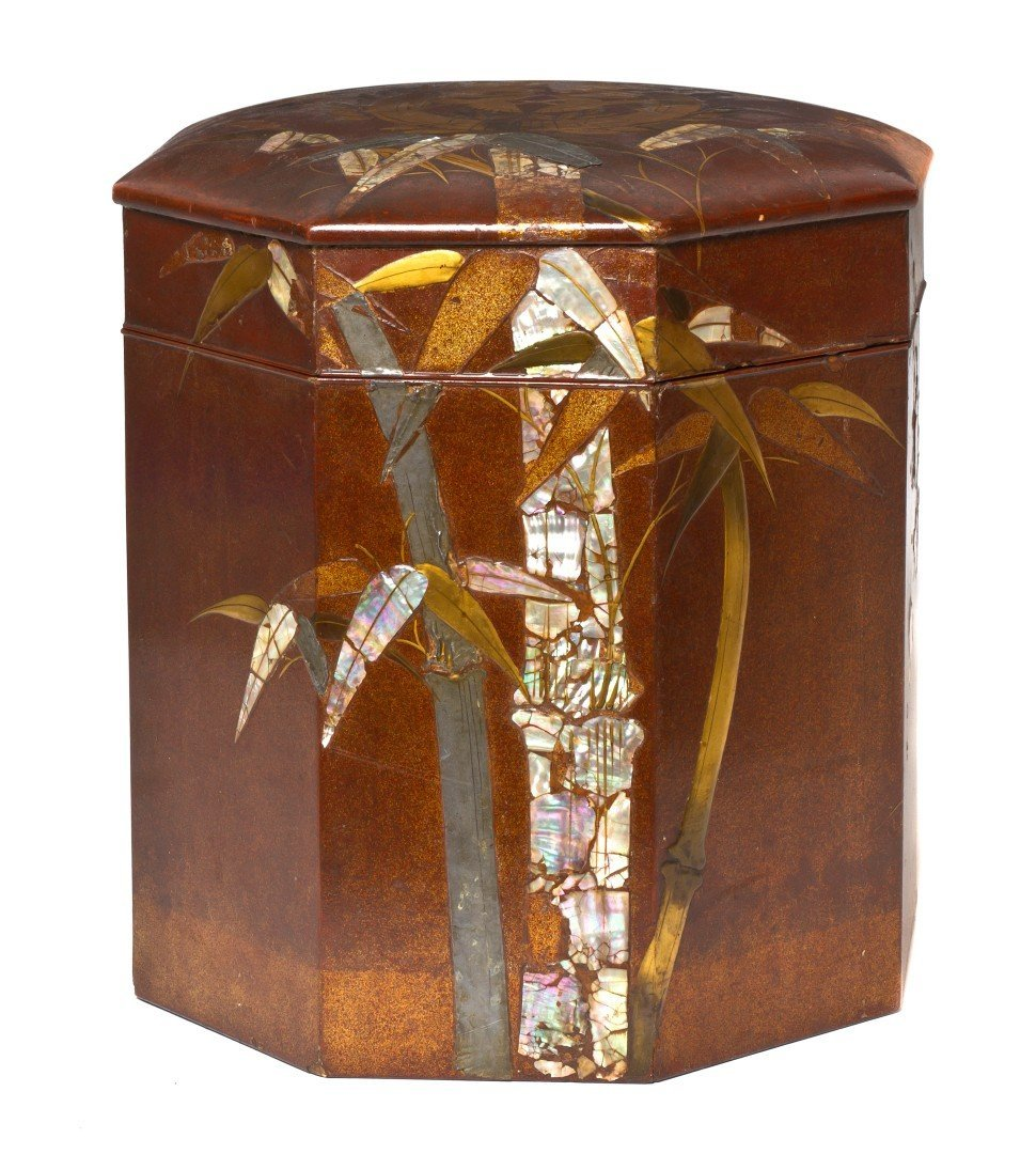 501: A Japanese Lacquered and Shell Inlaid Box, Height