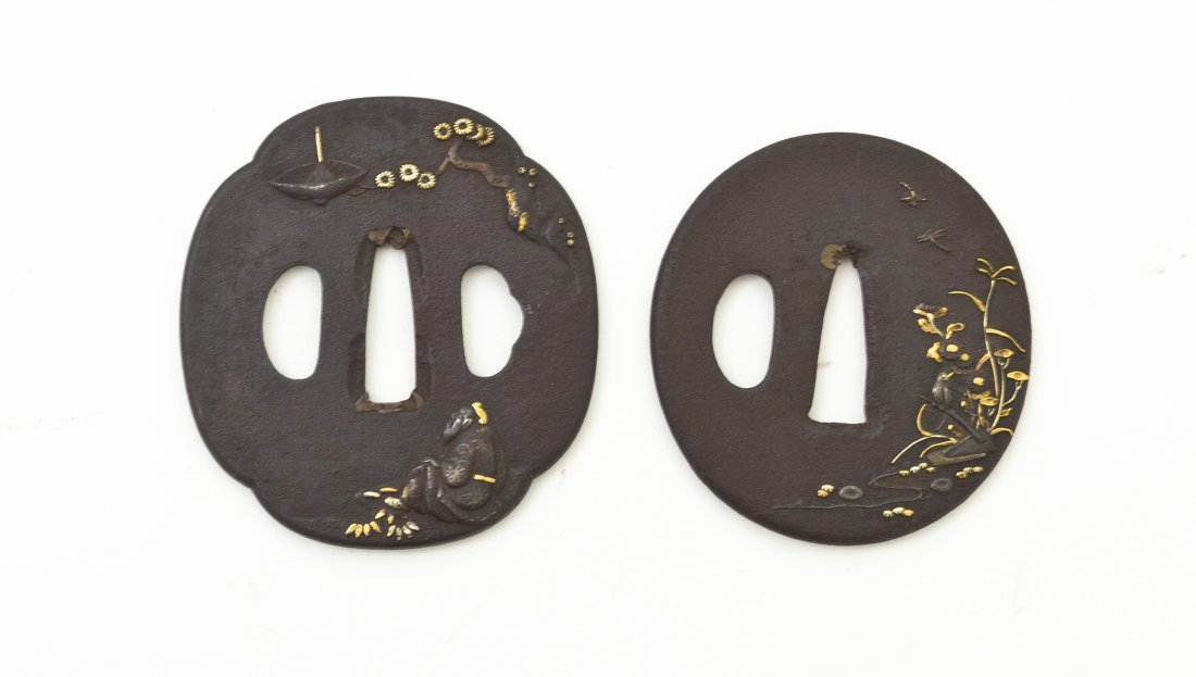 503: Two Japanese Bronze Tsuba, Width of largest 2 3/4