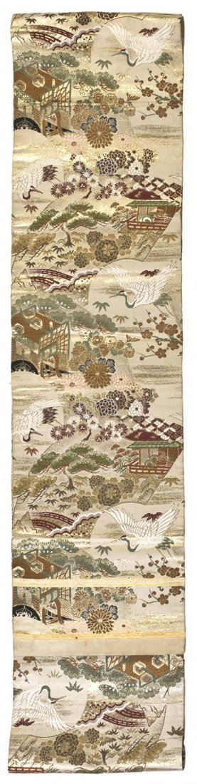 504: A Japanese Colored Silk Brocade Obi, Height 148 x