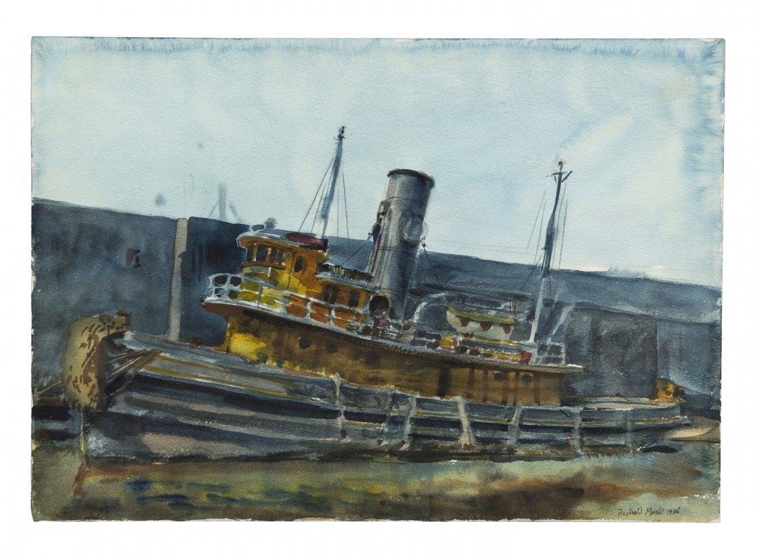 4: Reginald Marsh, (American, 1898-1954), Tug Boat, 193