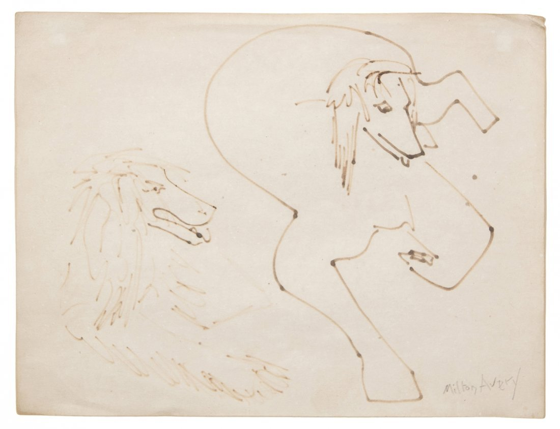 6: Milton Avery, (American, 1885-1965), Two Afghans