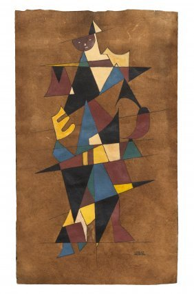 1016: Carlos Merida, (Guatemalan, 1895-1984), Cubist Fi