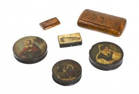 6: Three Lacquered Patch Boxes, Length of longest 5 1/2