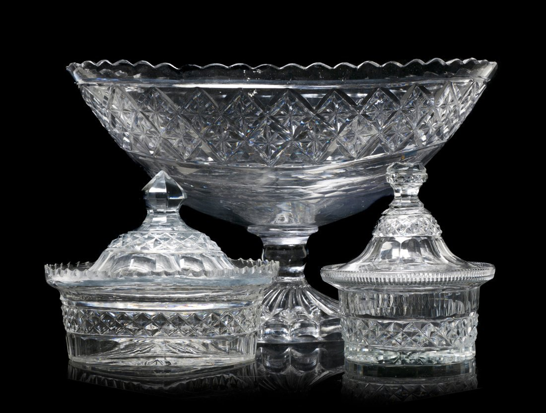 8: Three English Cut Glass Articles, Width of widest 13