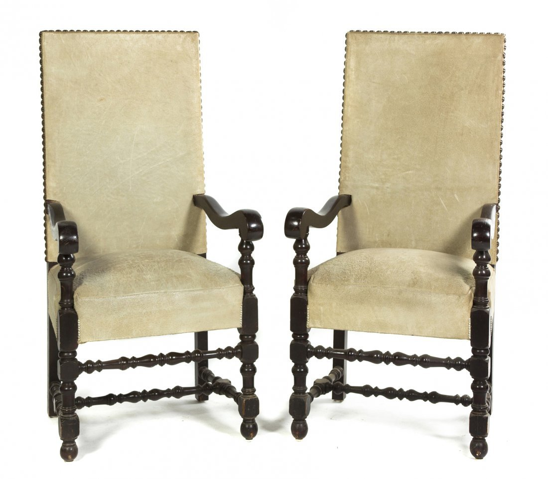 10: A Pair of Jacobean Revival Oak Armchairs, Height 55