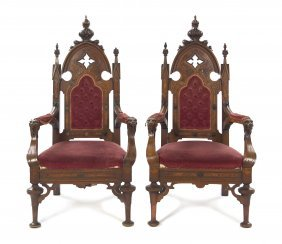 A Pair Of Gothic Revival Open Armchairs, Height 46