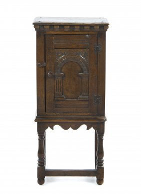 17: An English Oak Console Cabinet, Height 36 1/2 x wid