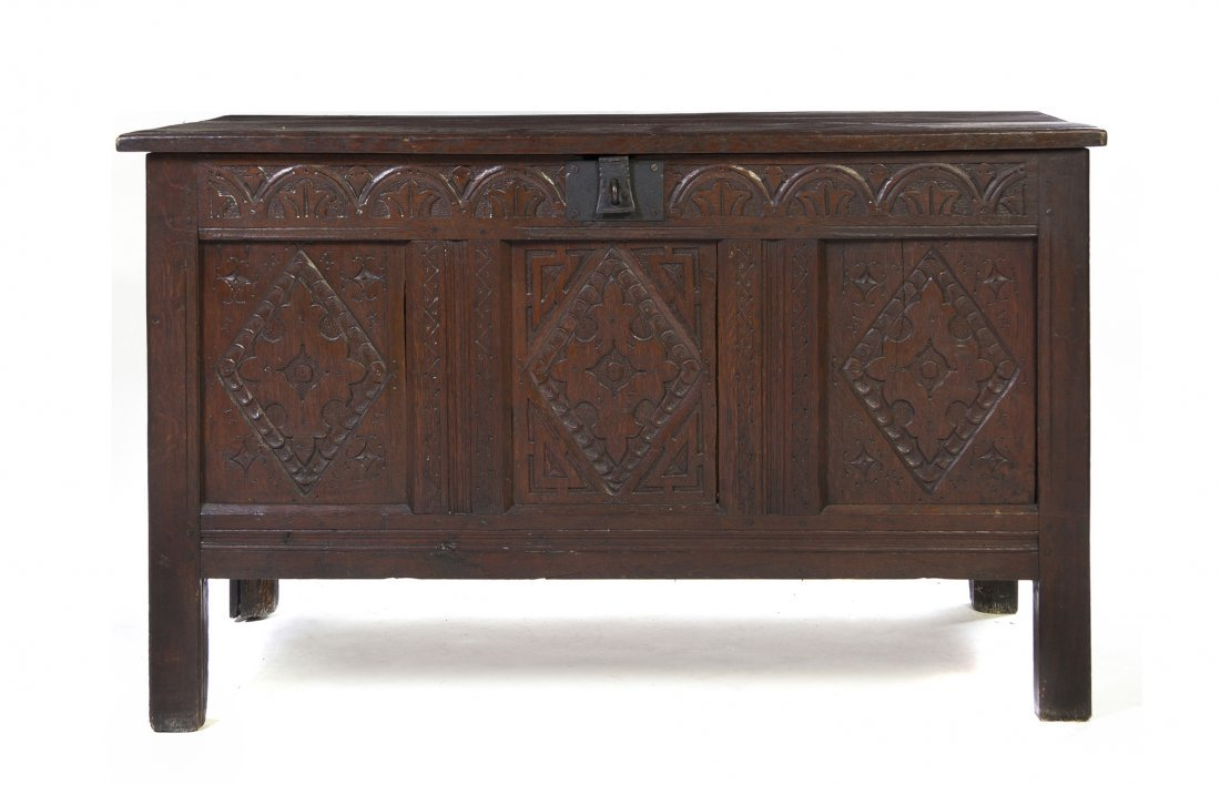 18: An English Carved Oak Coffer, Height 31 x width 50