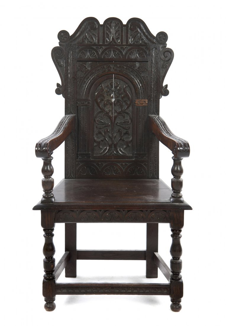 512: A Renaissance Revival Open Armchair, Height 40 1/2