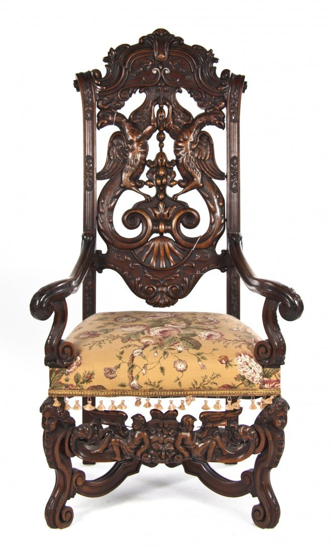 514: A Renaissance Revival Carved Hall Chair, Height 56