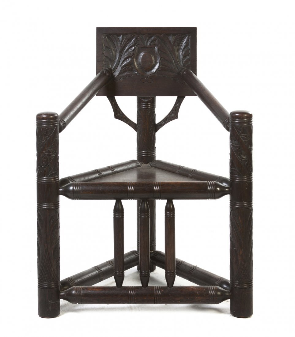 523: A Renaissance Revival Carved Oak Hall Chair, Heigh
