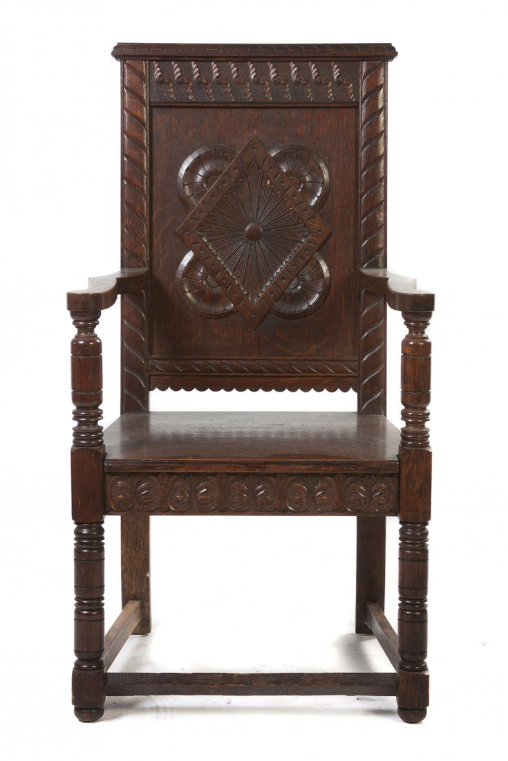 524: A Renaissance Revival Carved Oak Hall Chair, Heigh
