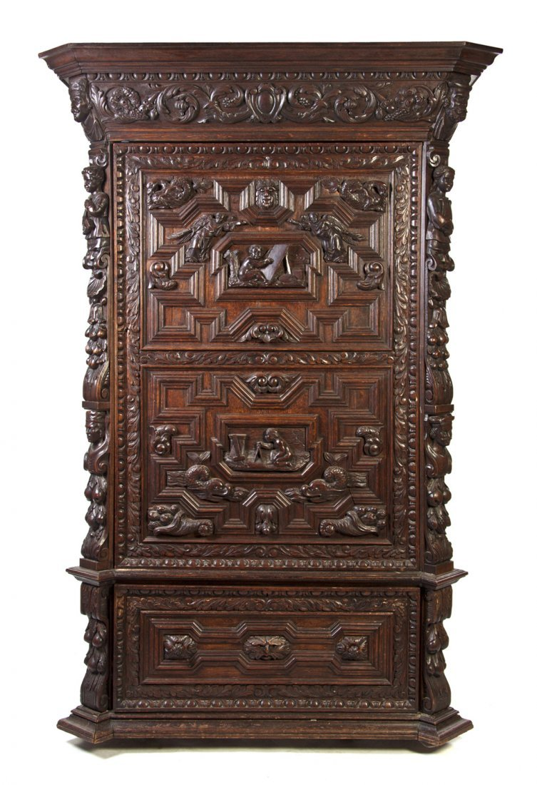 525: A Renaissance Revival Carved Oak Armoire, Height 7