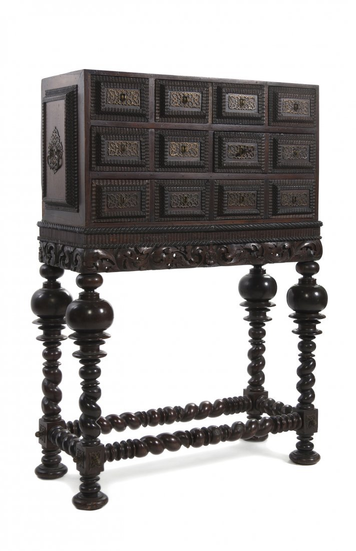 529: A Spanish Baroque Style Chest on Stand, Height 57