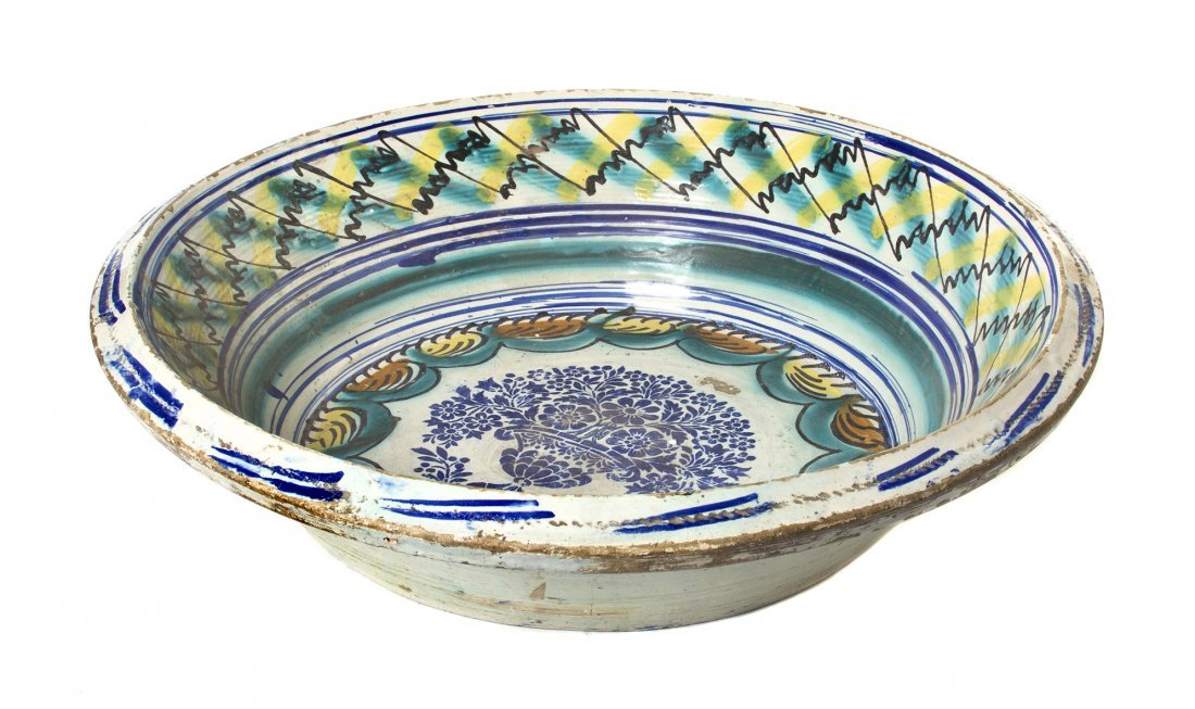 530: A Continental Ceramic Tin Glazed Basin, Diameter 2