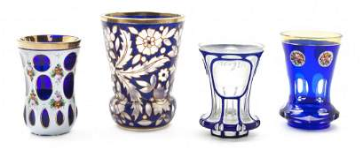 649: A Collection of Four Bohemian Glass Articles, Heig