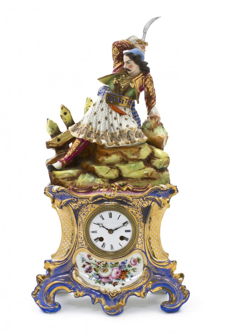 735: A Paris Porcelain Figural Mantel Clock, Height ove