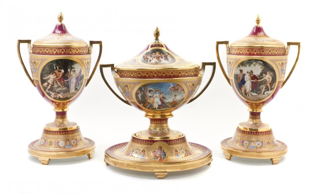 834: A Royal Vienna Porcelain Garniture, Height of pair