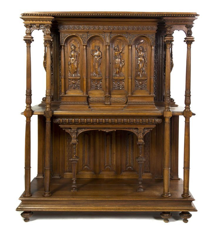 527A: A Renaissance Revival Carved Walnut Buffet a Deux