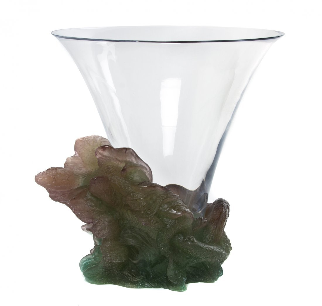 1058: A Daum Glass and Pate-de-Verre Glass Vase, Height