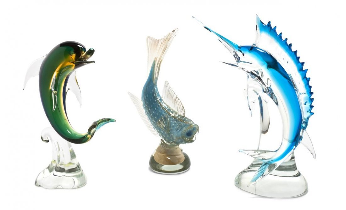 1067: Three Italian Glass Models of Fish, Height of tal