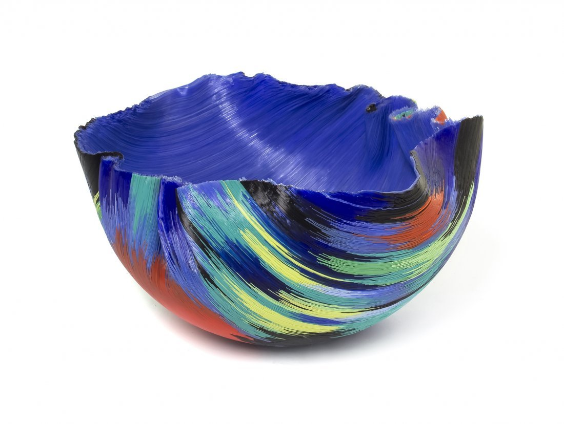 """1074: A Fused Glass Freeform Bowl, Mary Ann Toots"""" Zyns"""