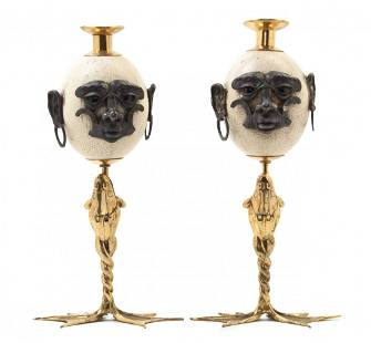 1142A: A Pair of Brass Fantasy Candlesticks, Anthony Re