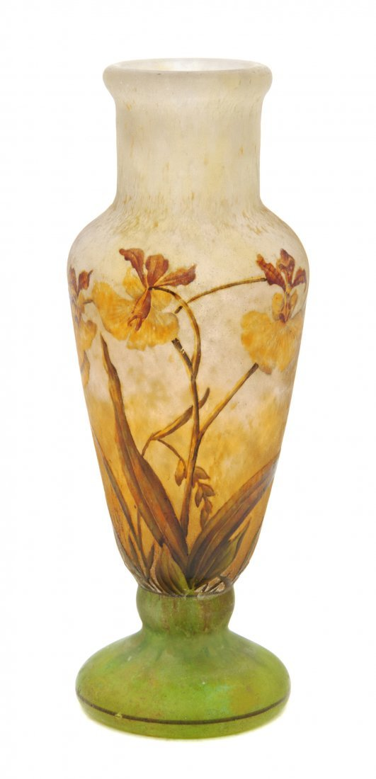 1225: A Daum Enameled Cameo Glass Vase, Height 6 3/4 in