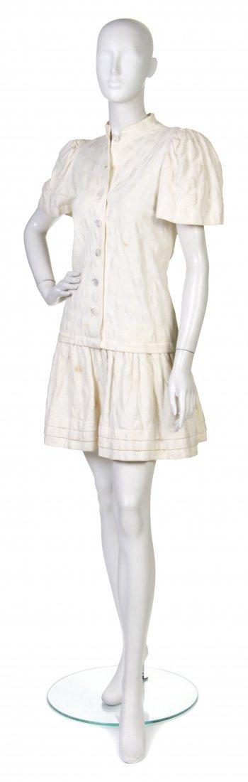 2: A Pauline Trigere Girl's Cream Cotton Dress,