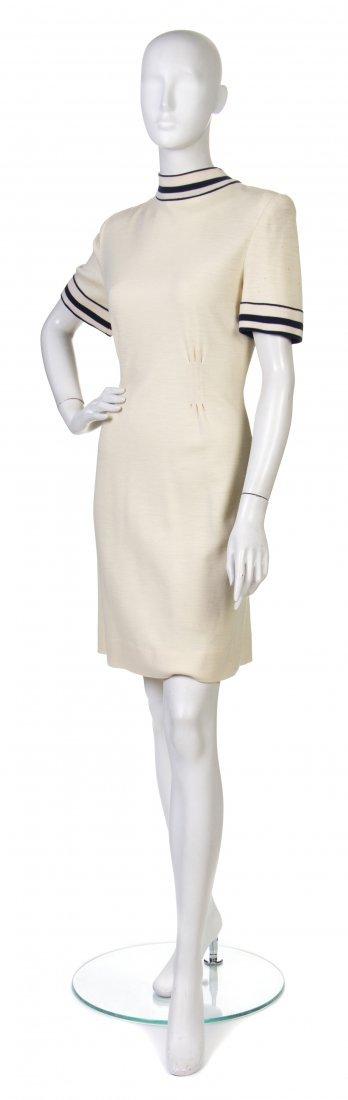11: A Pauline Trigere Cream Wool Dress,