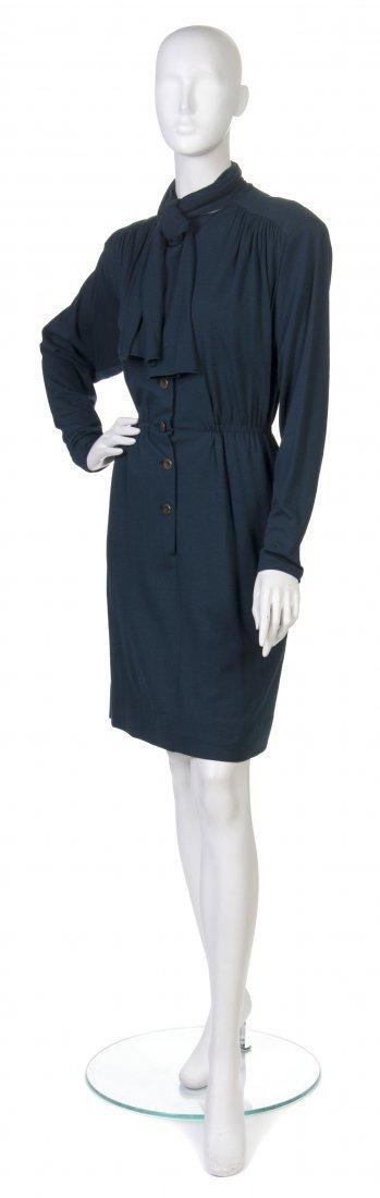 12: A Pauline Trigere Dark Green Wool Dress,